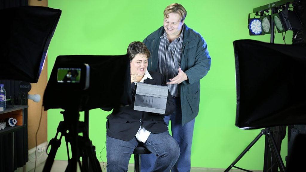 Adv Joubert and Dawie le Hanie at Zikedish's green screen studio.