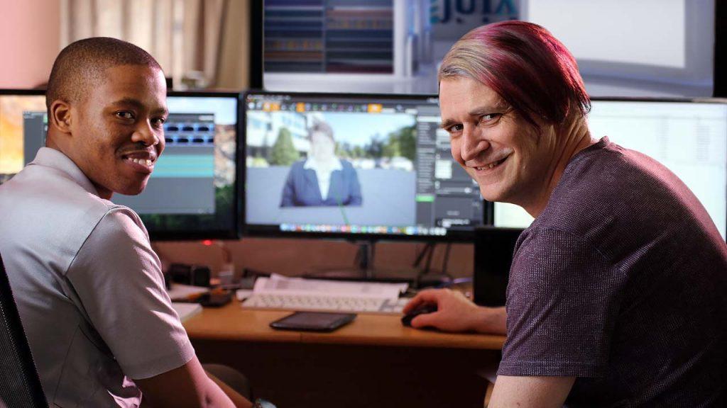 Kopano and Albert working on the 3D studio for the Juta ALPO project.