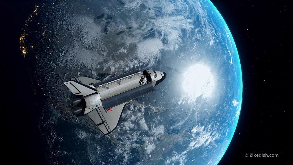 3D Earth and space shuttle